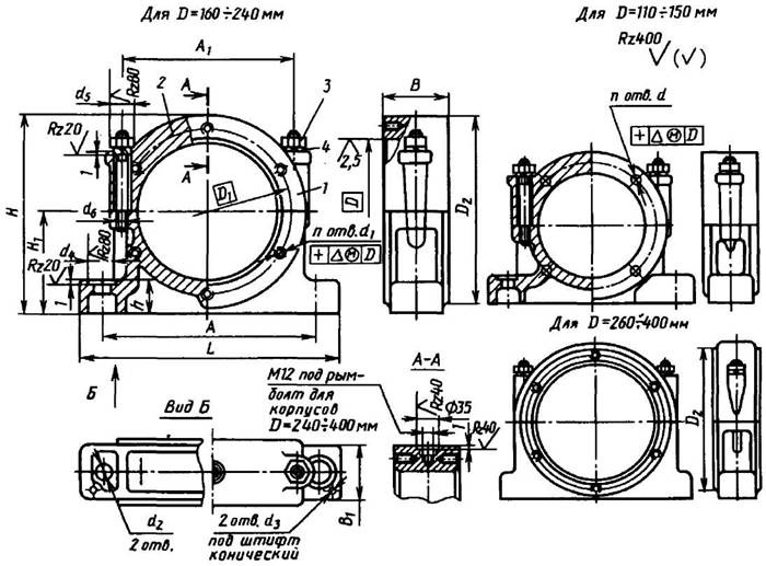 Разъемный широкий корпус подшипника типа РШ