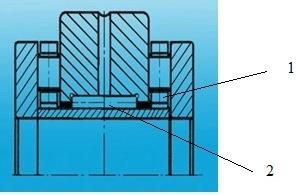 Игольчатый подшипник с двумя видами тел качения. 1- ролики, 2- длинный ролик (игла).