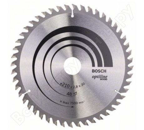Диск пильный по дереву OPTILINE (210х30 мм; 48T) для ручных циркулярных пил Bosch 2608640623