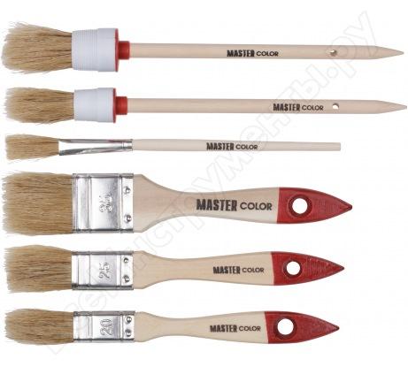 Набор из 6 кистей с деревянными ручками: флейцевые кисти 20, 25, 35мм, круглые кисти 20, 25мм, кисть художественная МASTER COLOR 30-0510