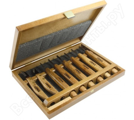 Набор из 6 резцов и 2 ножей в деревянной коробке NAREX Profi 869010