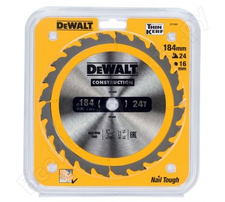 Пильный диск CONSTRUCT (184х16 мм; 24 ATB) Dewalt DT1939