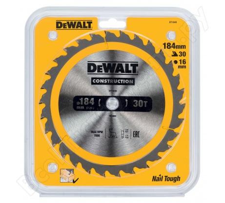 Пильный диск CONSTRUCT (184х16 мм; 30 ATB) Dewalt DT1940