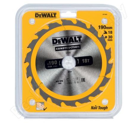 Пильный диск CONSTRUCT (190х30 мм; 18 ATB) Dewalt DT1943