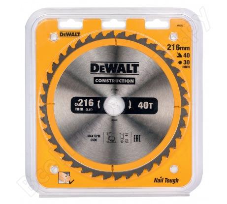 Пильный диск CONSTRUCT (216х30 мм; 40 ATB) Dewalt DT1953