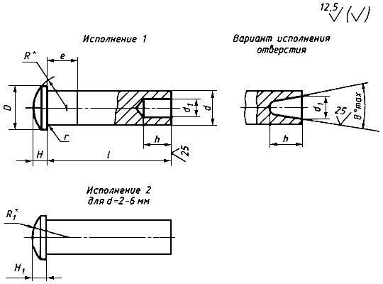 ГОСТ 12641-80 Заклепки полупустотелые с полукруглой головкой. Технические условия (с Изменениями N 1, 2)