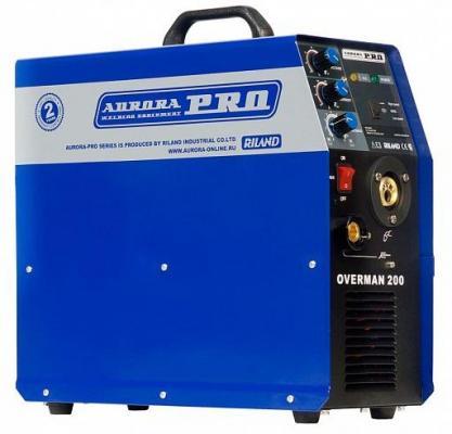 Сварочный полуавтомат AURORA PRO OVERMAN 200 Mosfet 5.6кВт 220В MIG/MAG 40-200А 0.6-1.0мм 15кг
