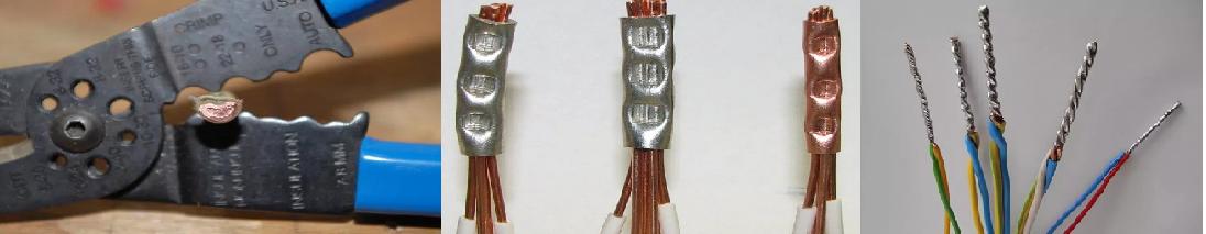 Неразъемные соединения обжимной гильзой и пайкой.