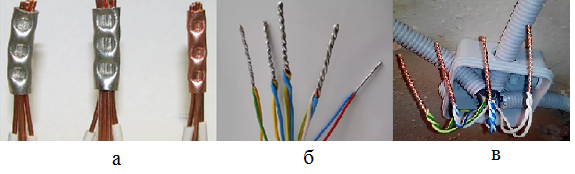 Виды соединения проводов. а) обжимка в гильзе, б) пайка в оловянистым припоем, в) - сварка.
