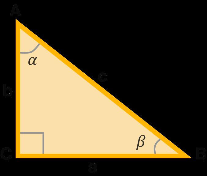 Стандартный прямоугольный треугольник: стороны a (BC) и b (AC) - катеты, сторона с (AB) - гипотенуза