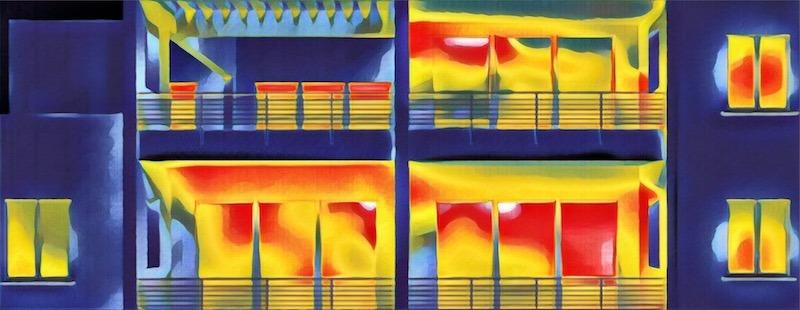 Потери тепла через окна (фото на тепловизор)