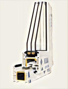 Сечение двухкамерного стеклопакета Века