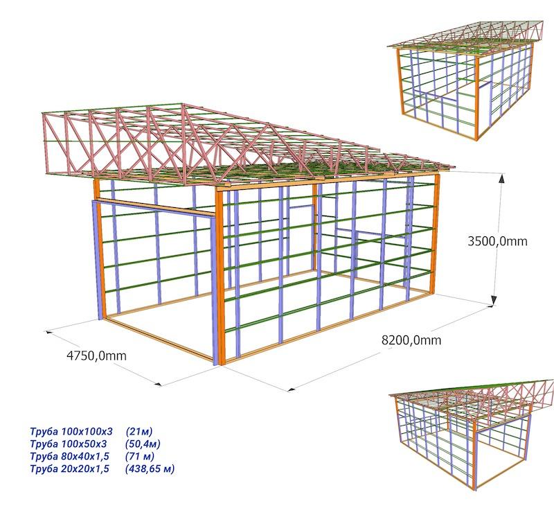 Чертеж каркаса гаража со спецификацией материалов
